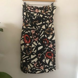 J Crew abstract floral strapless dress